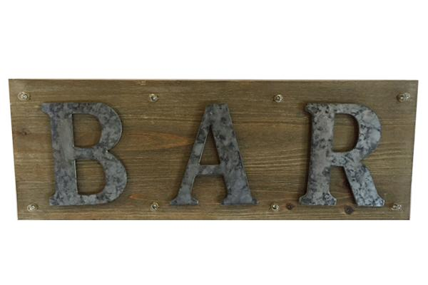 WOODEN 'BAR' SIGN WITH LIGHTS