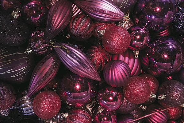 PURPLE & PINK ASSORTED ORNAMENTS