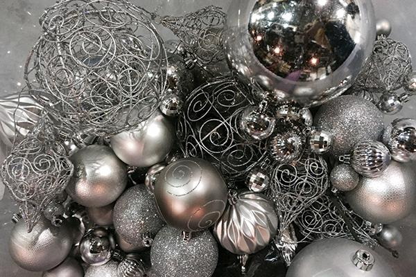SILVER ASSORTED ORNAMENTS