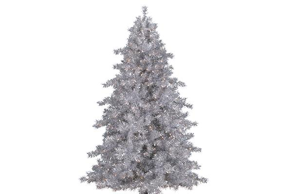 9' SILVER PRE-LIT CHRISTMAS TREE