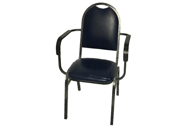 NAVY BANQUET CHAIR W/ ARMS