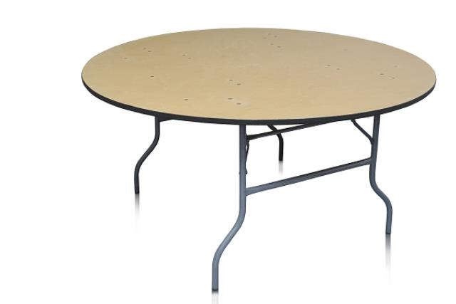 5' ROUND WOOD TOP TABLE