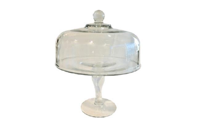 GLASS PEDESTAL CAKE PLATE W/LID (TALL)