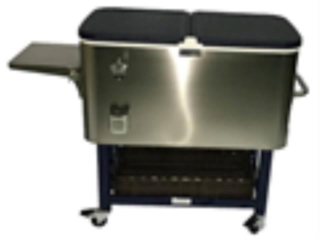 COOLER, 100 QT STAINLESS/BLUE W/CASTERS