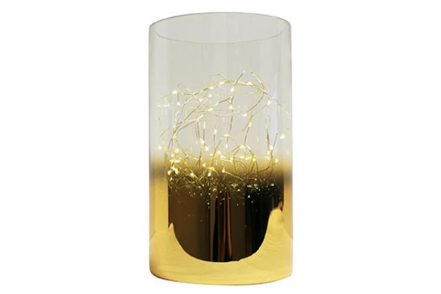 GOLD GLASS PILLAR WITH LIGHTS