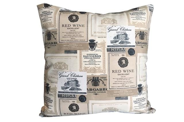 SMALL PRINT WINE LABELS PILLOW