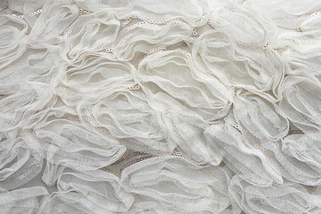 IVORY RUFFLED WITH SEQUIN OVERLAY