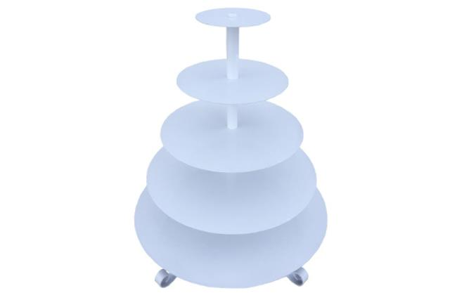 WHITE ROUND CUPCAKE STAND 5 TIER (LEGS)