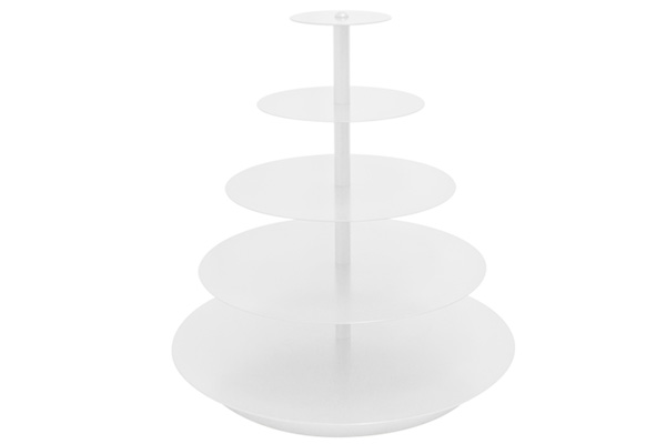 WHITE ROUND CUPCAKE STAND 5 TIER (BANDED)