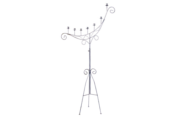 (CL)SILVER CRESCENT, 7 CANDLE CANDELABRA