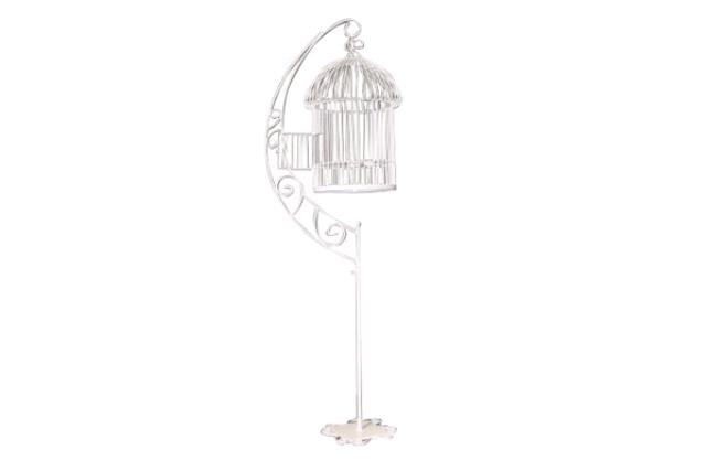WHITE BIRD CAGE CARD HOLDER