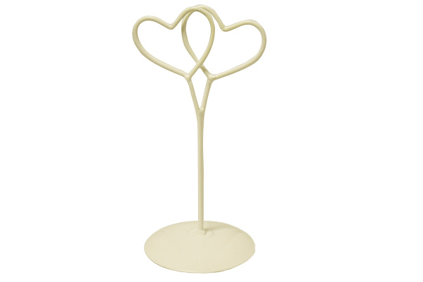 DOUBLE HEART IVORY PLACECARD HOLDER