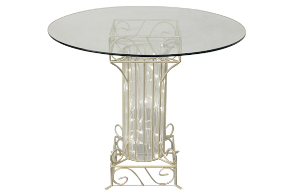 ANTIQUE WHITE GLASS TABLE