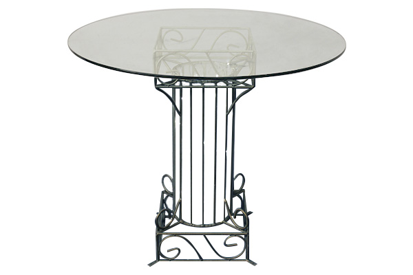 PEWTER GLASS CAKE TABLE