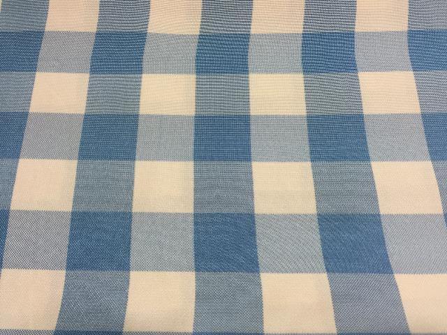 LIGHT BLUE & WHITE CHECKERED POLY LINEN