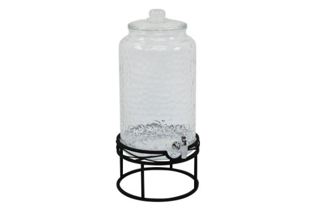 12 LT PEBBLE GLASS DRINK DISPENSER WITH STAND