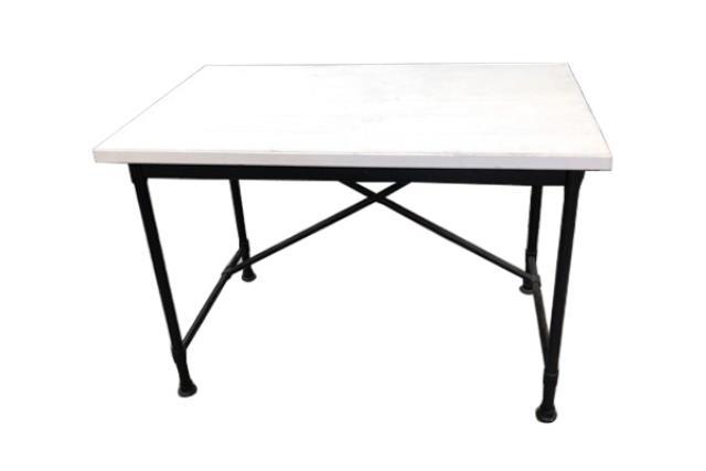 WHITE TOP W/ BLACK LEGS TABLE, 43