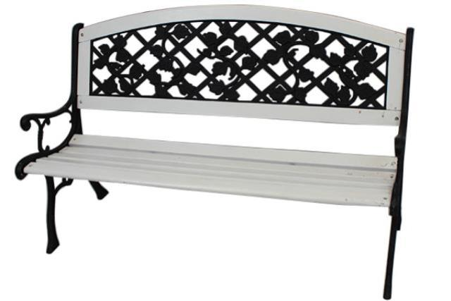 WHITE PARK BENCH, WITH METAL BACK