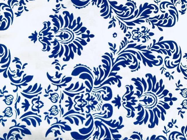 BLUE AND WHITE DAMASK RUNNER, 104