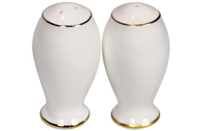 WHITE WITH GOLD RIM PEPPER SHAKER