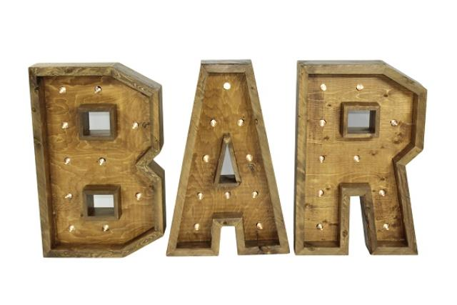 WOODEN 'BAR' LETTERS WITH LIGHTS