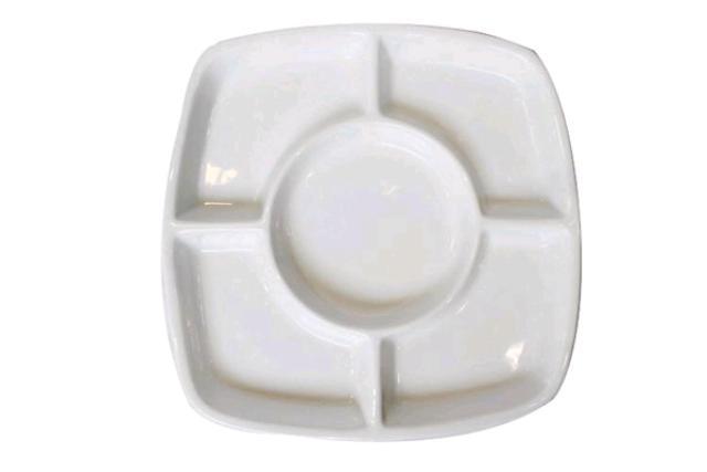 WHITE FONDUE PLATE