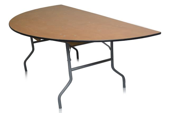 6' HALF ROUND PLYWOOD TOP TABLE