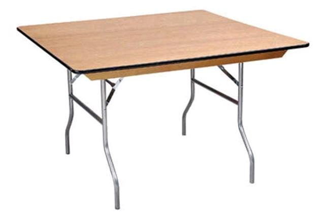 5' SQUARE WOOD TOP TABLE