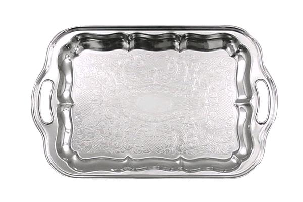 RECTANGULAR SILVER VINTAGE TRAY WITH HANDLES