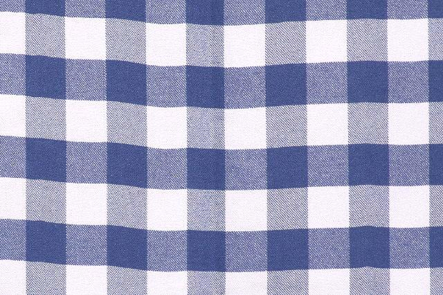 BLUE & WHITE CHECKERED SIGNATURE LINEN