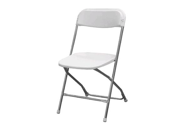 WHITE / CHROME FOLDING CHAIR