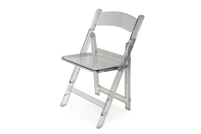 CLEAR CRYSTAL FOLDING CHAIR