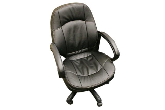 BLACK LEATHER OFFICE CHAIR WITH ARMS