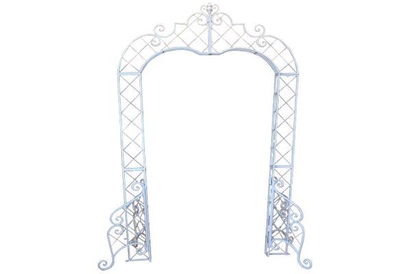 WHITE IRON SCROLL ARCHWAY