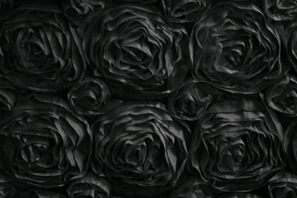 BLACK ROSETTE LINEN