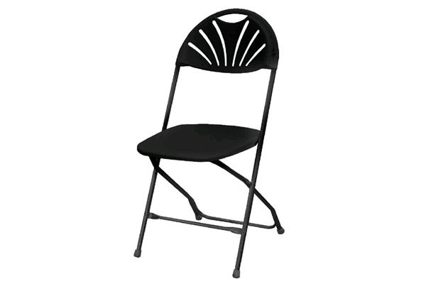 BLACK FAN-BACK FOLDING CHAIR