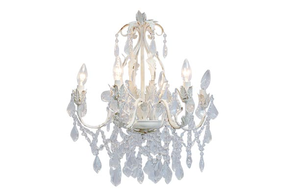ANTIQUE WHITE ORNATE CHANDELIER