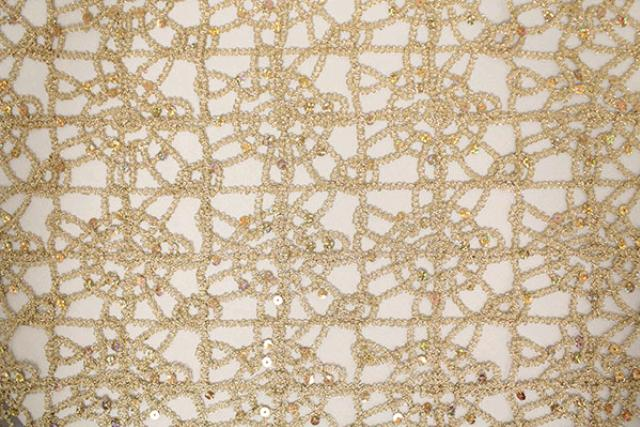 GOLD/WHITE BRAIDED WITH SEQUINS RUNNER, 80